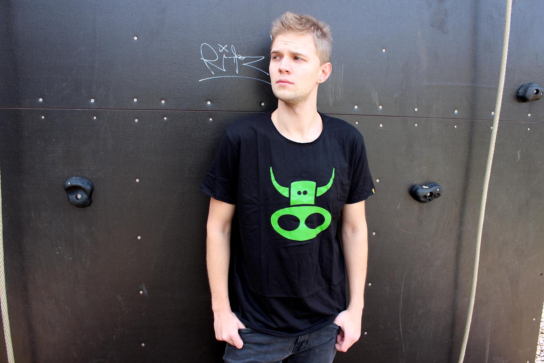 Classic black t shirt with green print